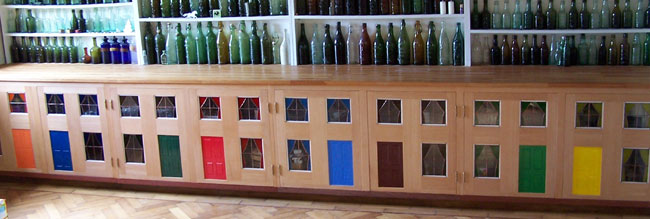 Unusual kitchen cupboard doors, each an original work of art.